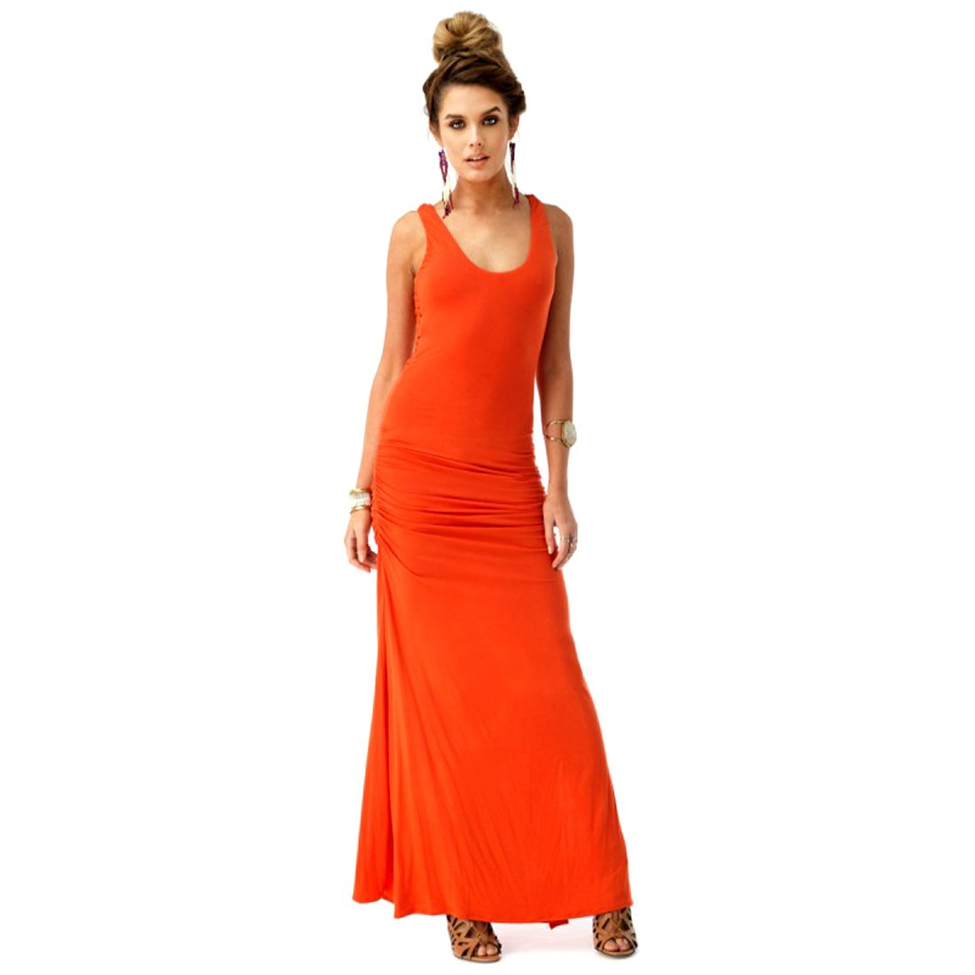 Sky Collection Coral Pheakkley Maxi Dress w/Crochet & Racer Style Back, Small by Crazy4Bling