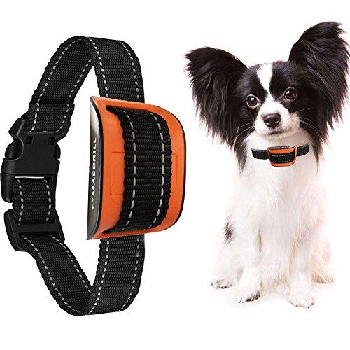 MASBRILL No Bark Dog Training Collar- Nylon Collar Dog Bark Control Collar Extremely Effective No Barking Anti Bark Collar- 7 Different Bark Sensitivity Levels (Shock)