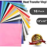 """Arts & Crafts : Heat Transfer Vinyl for T-Shirts 16 Sheets 12""""x 12"""" - HTV Iron On Vinyl for Silhouette Cameo & Cricut"""
