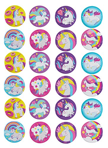Pinback Buttons - 24-Pack Rainbow Unicorn Round Button Pins in 8 Designs for Kids Birthday Party Favors, Unicorn Lovers, 2.25 inches Diameter