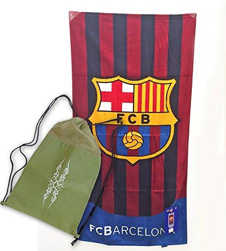 Toalla del FC Barcelona de 75x150cm , 100% algodón. Con práctica mochila de regalo!Producto Oficial FCB.: Amazon.es: Hogar