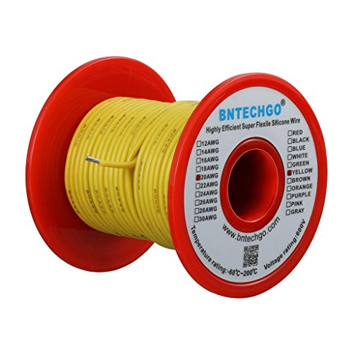 BNTECHGO 20 Gauge Silicone wire spool 50 ft Yellow Flexible 20 AWG Stranded Tinned Copper Wire