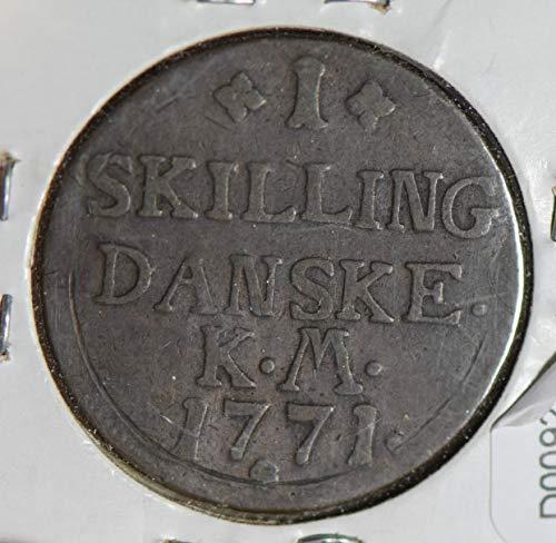 1771 DK D0092 Denmark Skilling vintage animal DE PO-01