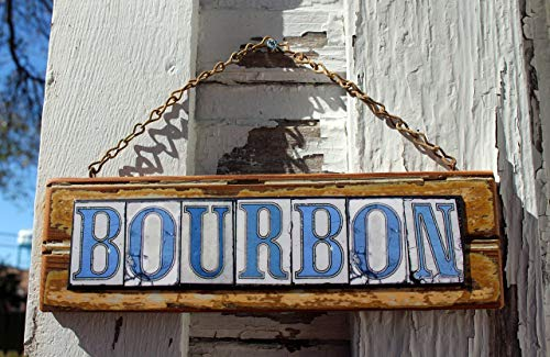 - Bourbon Street Salvage wood sign with New Orleans Street Tile Lettering