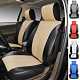120905S Black/Tan-2 Front Car Seat Cover Cushions Leather Like Vinyl, Compatible to HYUNDAI EQUUS ACCENT AZERA TUCSON FUEL CELL SANTA FE SPORT SONATA HYBRID SONATA PLUG-IN 2017-2007 (Black/Tan)