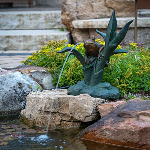 Aquascape Frog on Reed Spitter Fountain for Ponds and Water Gardens | 78305
