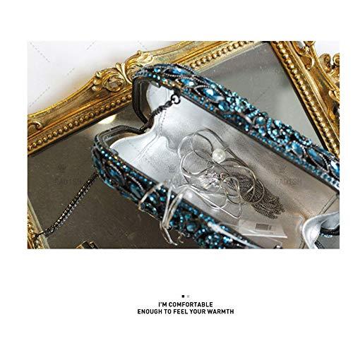 Lovely en Sacs Fêtes Diamant Bleu À À Sacs Mariage à Main Pochettes Sac rabbit pour Perles Main Dames soirée Main rnrfRq