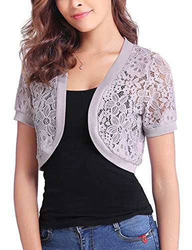 - Abollria Women Short Sleeve Floral Lace Shrug Open Front Bolero Cardigan Gray Purple