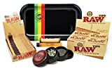 Bundle - 6 Items - Raw Natural 1 1/4 Cigarette Rolling Papers (Full Box), RAW Pre-Rolled Tips (Full Box), RAW 79mm Roller and Rolling Paper Depot Rolling Tray (Rasta Racer), Grinder and Doob Tube