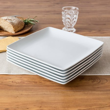 Better Homes and Gardens Porcelain Coupe Square Dinner Plates, White, Set of 6 (Coupe Square Plate Set)