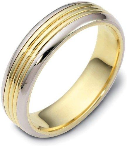 - 5.5mm Titanium & 14 Karat Yellow Gold Comfort Fit Wedding Band Ring - 6.25