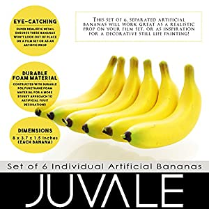 Juvale Set of 6 Individual Fake Fruit Bananas - Artificial Fruit Plastic Bananas for Still Life Paintings, Storefront Decoration, Kitchen Decor, Yellow, 8 x 3.7 x 1.5 Inches 4