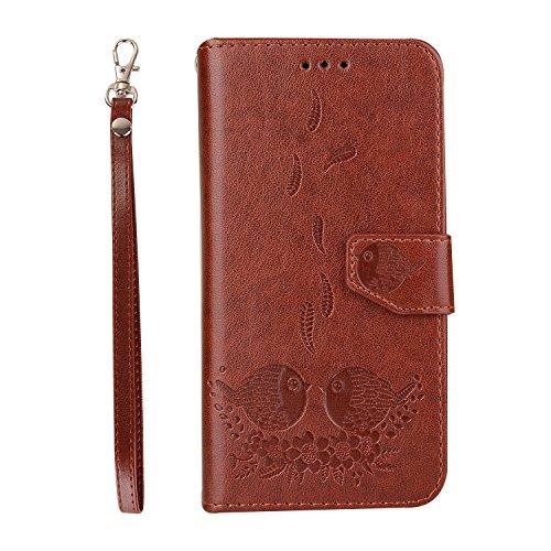Hozor Samsung Galaxy S7 Edge / SM-G935F cas de téléphone, motifs en relief exquis, PU cuir Flip Wallet, avec fermeture magnétique, étui de protection avec fente pour carte / support brown