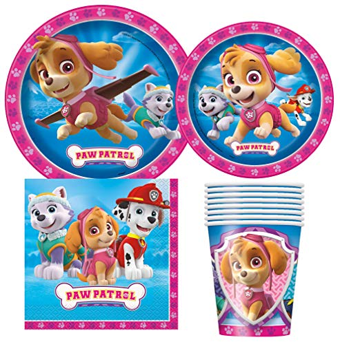 Unique Industries Paw Patrol Girl Birthday Party Supplies Pack for 8 Guests Including Lunch Plates, Dessert Plates, Lunch Napkins, Cups -