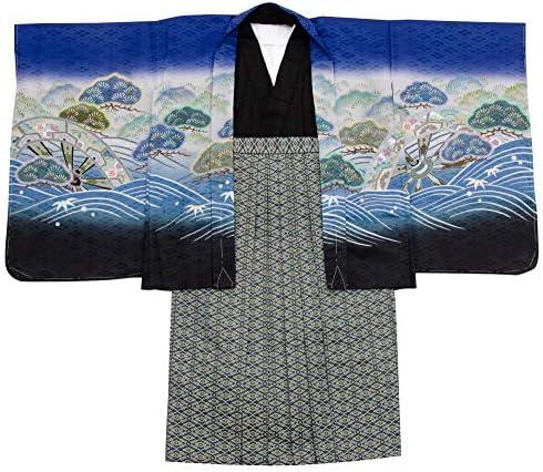 七五三 着物 男の子 五歳 13点フルセット 羽織袴セット 鷹 ブルー 青色 3510-00006-7-60cm