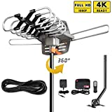 UPGRADED 2018 VERSION HD Digital TV Antenna Kit-Best 150 Miles Long Range High-Definition -UHF/VHF 4K 1080P Channels Wireless Remote Control - 33ft Coax Cable - Support All TV's-1080p 4K ready(W/pole)
