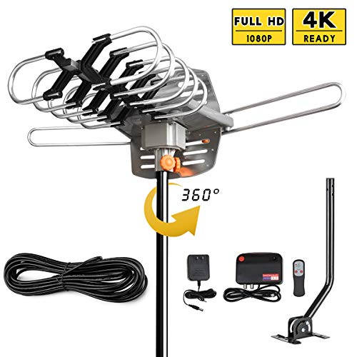 UPGRADED 2019 VERSION HD Digital TV Antenna Kit-Best 150 Miles Long Range High-Definition -UHF/VHF 4K 1080P Channels Wireless Remote Control - 33ft Coax Cable - Support All TV's-1080p 4K ready(W/pole)