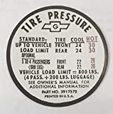 1967 CAMARO TIRE PRESSURE LABEL For EX, SS, 350, CONVERTIBLE & SS 396