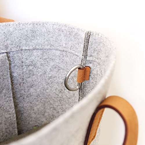 Tote Bag LuckySign Felt Felt Grey Shopper Simeles Bag Felt Shopping Bags tf4RwCqpHR