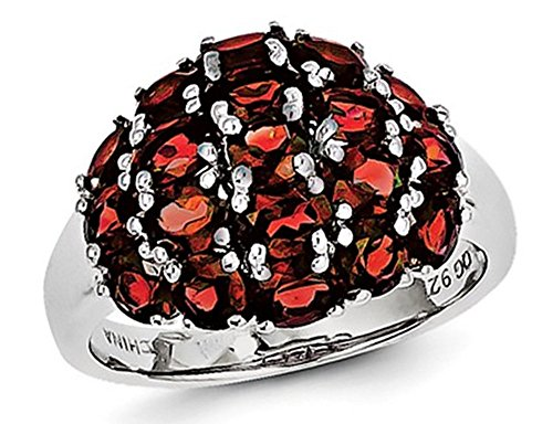 (3.90 Carat (ctw) Red Garnet Cluster Ring in Sterling Silver)