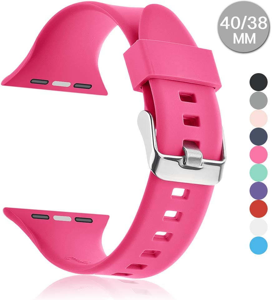Compatible with Apple Watch Sports Band Series 4 (44mm, 40mm) Series 3 Series 2 Series 1 (42mm, 38mm) | Soft Silicone Replacement Band (Pink, 40mm/38mm)