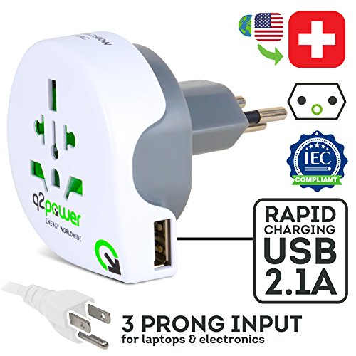 World to Switzerland Travel Adapter with USB Port by Q2Power | for Type J Outlets | Grounded & Safe | Works with Laptops, Computers, Smartphone Chargers, Portable Devices