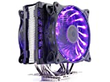 PCcooler RGB CPU cooler Radiator 6 Heatpipes 4PIN 12CM RGB Color LED Fan Computer PC AMD AM2 AM3 FM1 FM2 Intel 775 1151 115X 2011 CPU Cooling Radiator(RGB can be Dimmed Double Fan) by Tekit