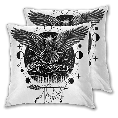lsrIYzy Decorations Throw Pillow Cushion Cover Set of 2,Sketch Tattoo Art Bird Spread Wings with Nature Moon Phases Boho Elements,Square Accent Pillow Case 18x18 inches