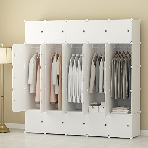 Cheapest Price! KOUSI Portable Clothes Closet Wardrobe Bedroom Armoire Storage Organizer with Doors,...