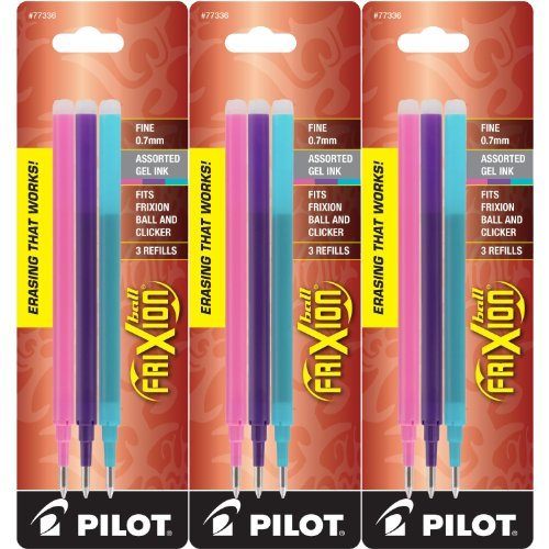 Pilot Refills for Frixion Erasable Gel Ink Pens, Fashion Ass