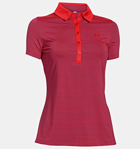 Ss Stripe Polo - Under Armour Zinger SS Stripe Polo - Women's Rocket Red / Cobalt / Rocket Red Small
