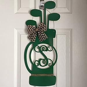 Monogram Golf Bag Door Hanger - Father's Day Door Hanger - Golf Bag Wreath - Golfer Door Hanger - Golfer Wreath - Golf Door Hanger 112