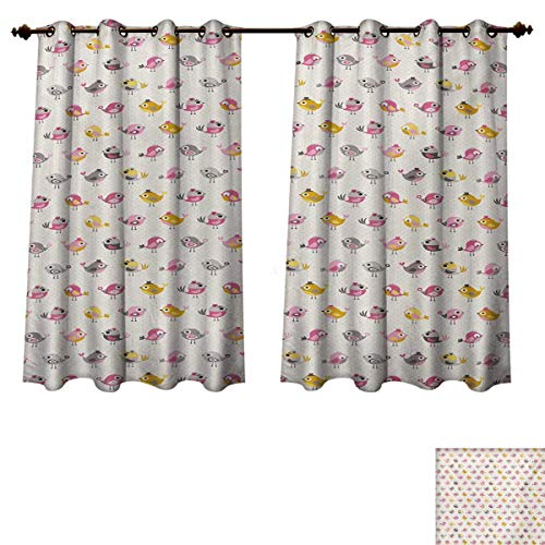 RuppertTextile Baby Blackout Thermal Curtain Panel Cartoon Style Birds with Fancy Funny Animals with Accessories Top Hat Flowers Patterned Drape for Glass Door Pink Grey Marigold W55 x L72 inch
