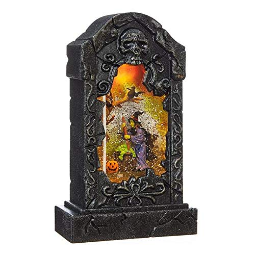 RAZ Imports 10.5'' Witch Tombstone Lighted Water Lantern Halloween Swirling Glitter Snow Globe by Raz Imports Seasonal