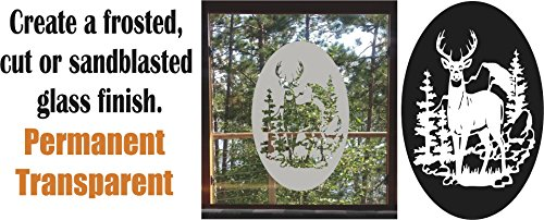 Deer Buck Hunting DIY Etched Glass Vinyl Privacy Film Glass Door Decals Sliding Door Decal Door Stickers Window Sticker - Buck Glass