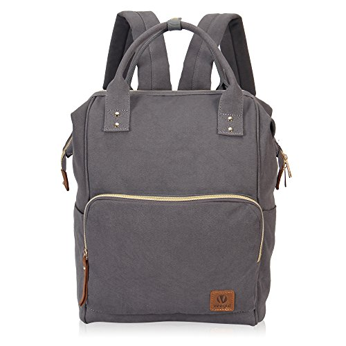 Veegul Stylish Doctor Style Canvas School Backpack Functional Travel Bag for Men Women Semizipper Pocket Grey VGS