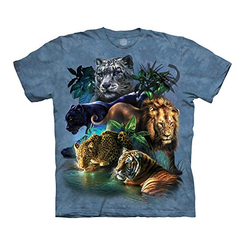 The Mountain Big Cats Jungle Adult T-Shirt, Blue, Small (5ive Jungle Shirts)