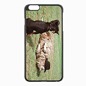 iPhone 6 Plus Black Hardshell Case 5.5inch - sheep dog grass lie Desin Images Protector Back Cover