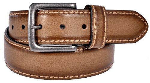 Sunny Belt Men's Faded Brown Vintage Jean Belt with Large Buckle - Belt Cognac Vintage
