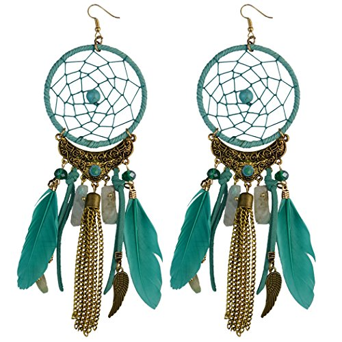 Feather Dream Catcher Leather Resin Beads Wings Chain Tassel Pendant Long Necklace Earring Drop (Green earring) -