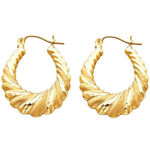 Solid 14k Yellow Gold Shrimp Hoop Earrings Hollow Matte Satin Finish Polished Style Fancy 25 x 25 mm 14k Yellow Gold Shrimp Hoop