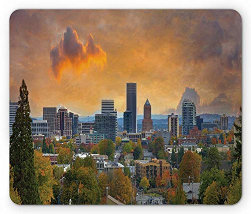 Oregon Mouse Pad, City of Portland in Autumn Season Downtown and Business District Urban Photography, Standard Size Rectangle Non-Slip Rubber Mousepad, Multicolor,8.66 x 7.08 x 0.118 Inches ()