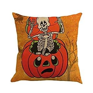 MaxFox Happy Halloween Throw Pillow Cover 18 x 18 Inch Happy Fall Yall Pillow Cover for Sofa Bedroom Car Decor