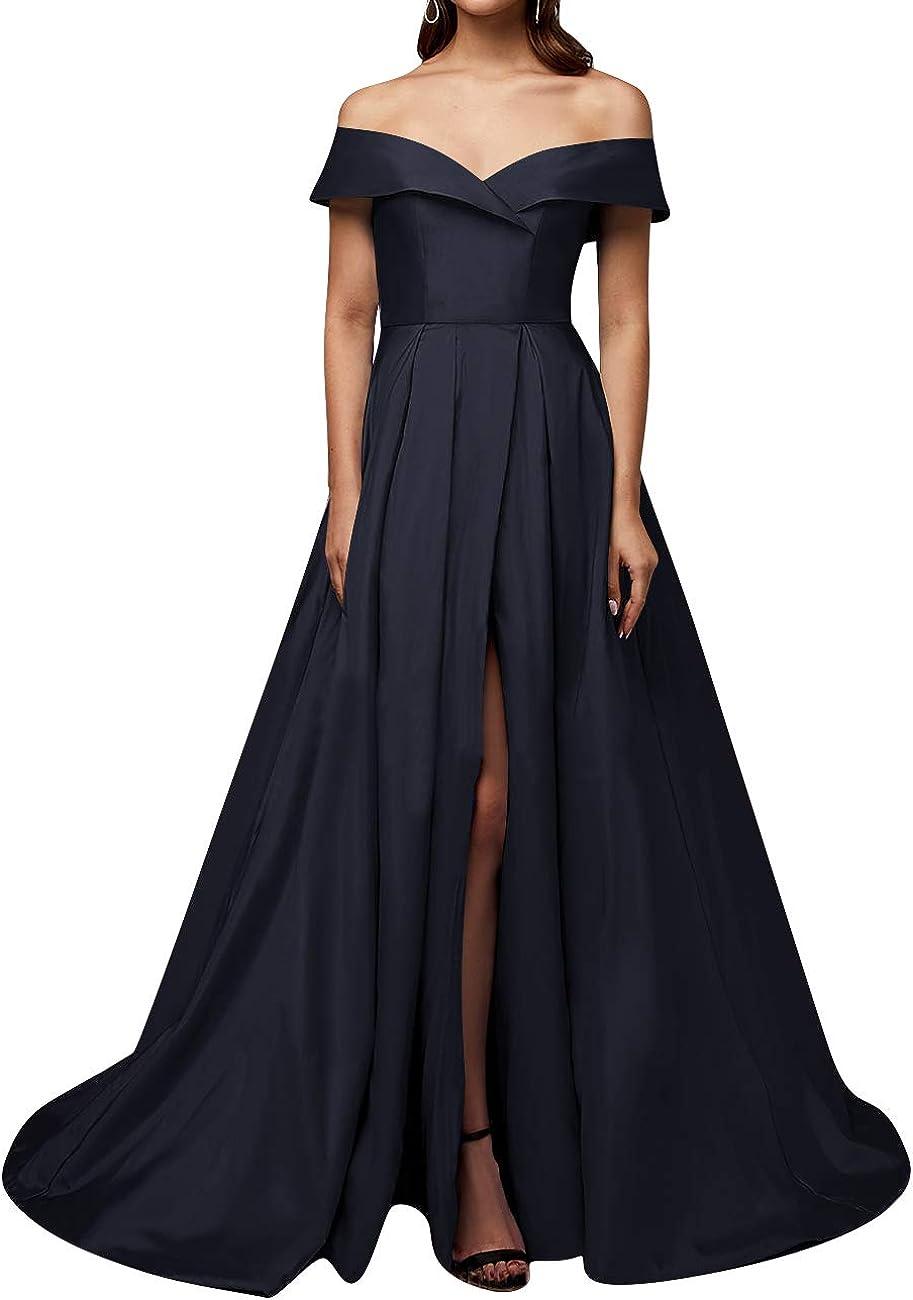 HUINI Robe Fendue Femme Longue Soir/ée Cocktail en Satin Chic Robe Princesse Hors-/épaule pour C/ér/émonie Mariage