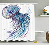 Ambesonne Jellyfish Shower Curtain Set, Aqua Colors Artsy Ocean Animal Print Sketch Style Creative Sea Maritime Theme, Fabric Bathroom Decor with Hooks, 75 Inches Long, Blue Purple White