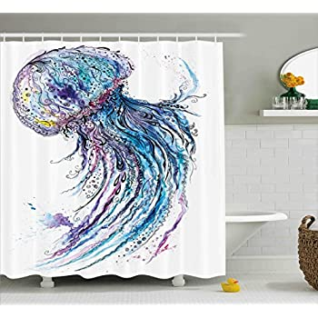 Jellyfish Shower Curtain Set by Ambesonne, Aqua Colors Artsy Ocean Animal Print Sketch Style Creative Sea Maritime Theme, Fabric Bathroom Decor with Hooks, 84 Inches Extra Long, Blue Purple White