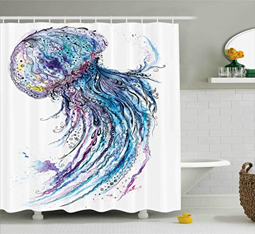 Ambesonne Jellyfish Shower Curtain Set, Aqua Colors Artsy Ocean Animal Print Sketch Style Creative Sea Maritime Theme, Fabric Bathroom Decor with Hooks, 75 Inches Long, Blue Purple White by Ambesonne