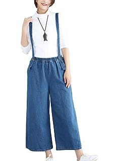 b3db993aa15 LaoZanA Women Baggy Stripe Jeans Dungarees Overalls Jumpsuit Ankle Pants  Denim Wide Leg Trousers (Belt