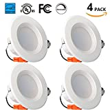 Enegitech 4 Inch Dimmable LED Downlight, Energy Star, UL Listed, 9W (65W Equivalent), 720LM, 5000K Crystal White, Retrofit LED Recessed Lighting Fixture, Can Lights for Ceiling Retrofit LED 4 Pack