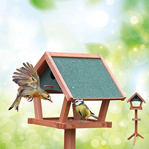 Flowers Proof Squirrel (Bird Feeder Outdoor Garden Solid Wood Rainproof Floor Models Feeder Perfect For Garden Decoration And Bird Watching For Bird Lover. Cacoffay)
